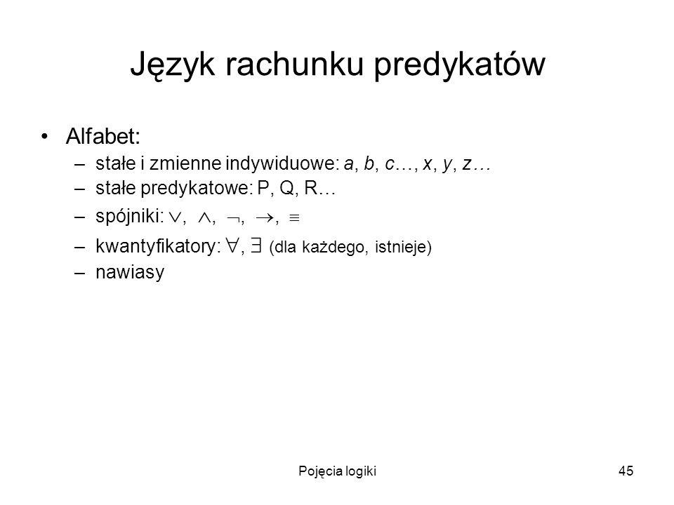 Pojęcia logiki45 Język rachunku predykatów Alfabet: –stałe i zmienne indywiduowe: a, b, c…, x, y, z… –stałe predykatowe: P, Q, R… –spójniki:,,,, –kwan