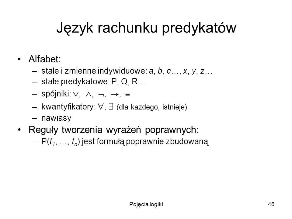 Pojęcia logiki46 Język rachunku predykatów Alfabet: –stałe i zmienne indywiduowe: a, b, c…, x, y, z… –stałe predykatowe: P, Q, R… –spójniki:,,,, –kwan