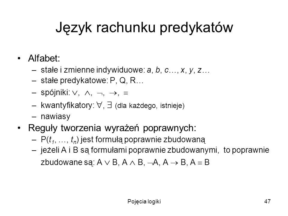 Pojęcia logiki47 Język rachunku predykatów Alfabet: –stałe i zmienne indywiduowe: a, b, c…, x, y, z… –stałe predykatowe: P, Q, R… –spójniki:,,,, –kwan