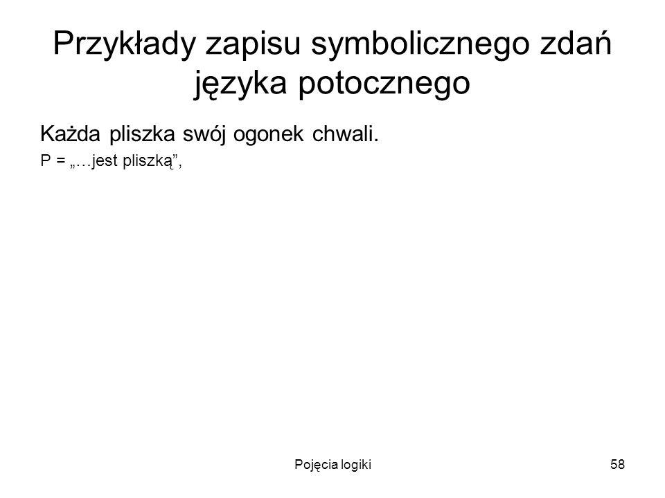 Pojęcia logiki58 Przykłady zapisu symbolicznego zdań języka potocznego Każda pliszka swój ogonek chwali. P = …jest pliszką,