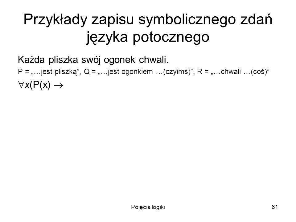 Pojęcia logiki61 Przykłady zapisu symbolicznego zdań języka potocznego Każda pliszka swój ogonek chwali. P = …jest pliszką, Q = …jest ogonkiem …(czyim