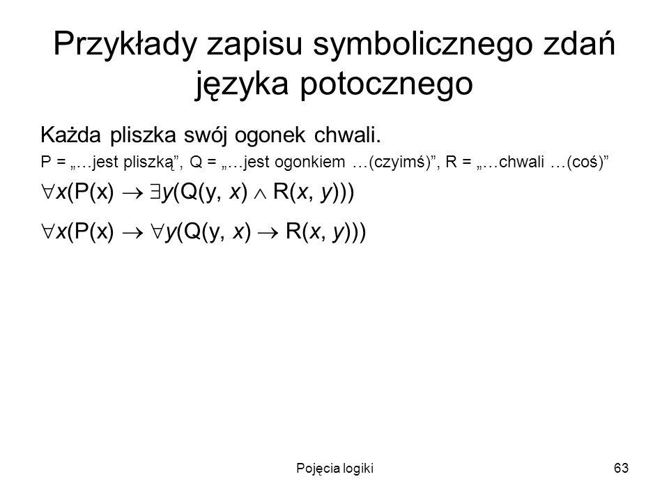 Pojęcia logiki63 Przykłady zapisu symbolicznego zdań języka potocznego Każda pliszka swój ogonek chwali. P = …jest pliszką, Q = …jest ogonkiem …(czyim