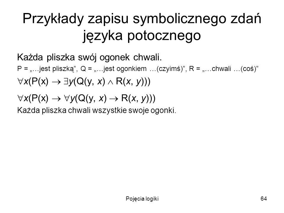 Pojęcia logiki64 Przykłady zapisu symbolicznego zdań języka potocznego Każda pliszka swój ogonek chwali. P = …jest pliszką, Q = …jest ogonkiem …(czyim