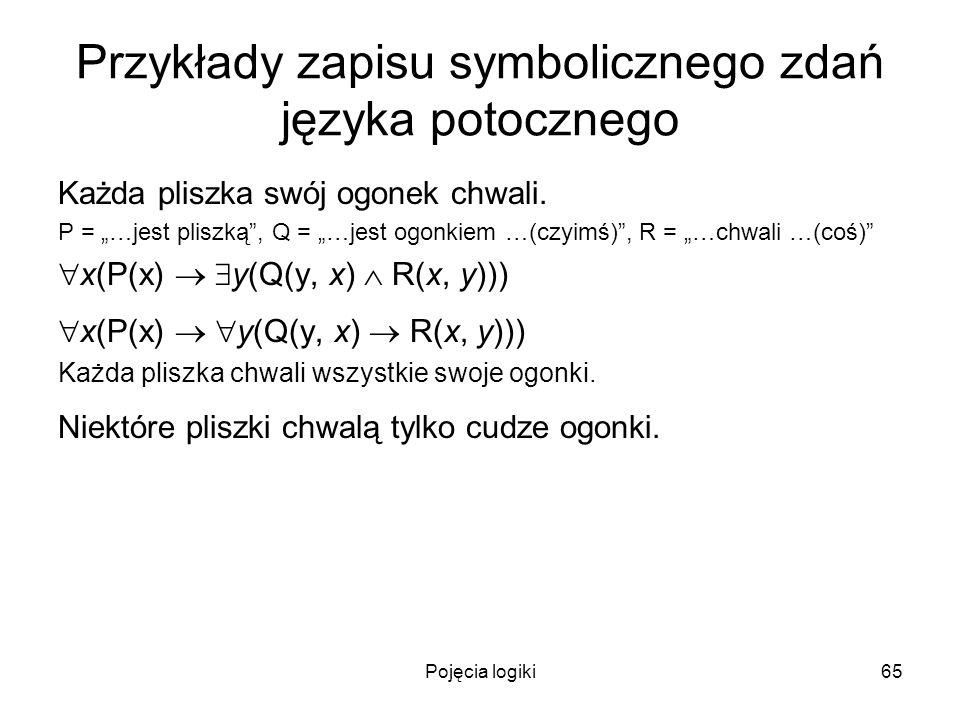 Pojęcia logiki65 Przykłady zapisu symbolicznego zdań języka potocznego Każda pliszka swój ogonek chwali. P = …jest pliszką, Q = …jest ogonkiem …(czyim