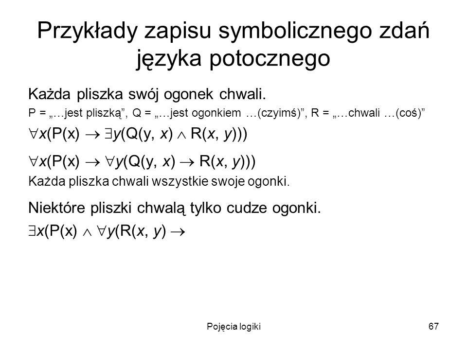 Pojęcia logiki67 Przykłady zapisu symbolicznego zdań języka potocznego Każda pliszka swój ogonek chwali. P = …jest pliszką, Q = …jest ogonkiem …(czyim