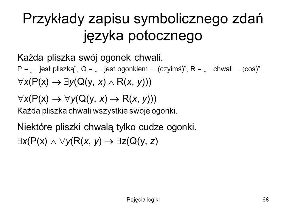 Pojęcia logiki68 Przykłady zapisu symbolicznego zdań języka potocznego Każda pliszka swój ogonek chwali. P = …jest pliszką, Q = …jest ogonkiem …(czyim