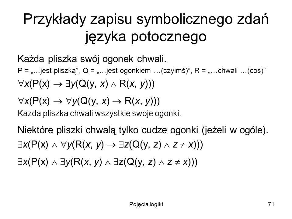 Pojęcia logiki71 Przykłady zapisu symbolicznego zdań języka potocznego Każda pliszka swój ogonek chwali. P = …jest pliszką, Q = …jest ogonkiem …(czyim