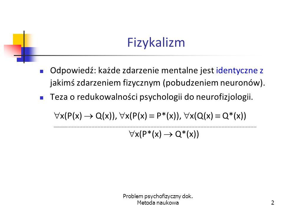 Problem psychofizyczny dok.Metoda naukowa23 Obrazkowa teoria znaczenia 5.