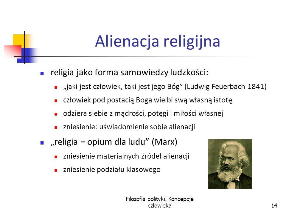 Filozofia polityki. Koncepcje człowieka14 Alienacja religijna religia jako forma samowiedzy ludzkości: jaki jest człowiek, taki jest jego Bóg (Ludwig
