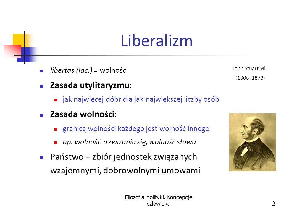 Filozofia polityki. Koncepcje człowieka2 Liberalizm libertas (łac.) = wolność Zasada utylitaryzmu: jak najwięcej dóbr dla jak największej liczby osób