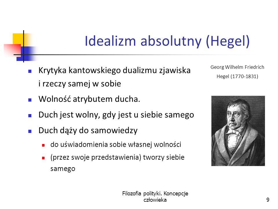 9 Idealizm absolutny (Hegel) Krytyka kantowskiego dualizmu zjawiska i rzeczy samej w sobie Wolność atrybutem ducha. Duch jest wolny, gdy jest u siebie