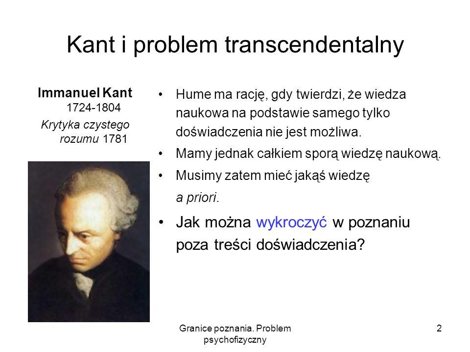 Granice poznania. Problem psychofizyczny 2 Kant i problem transcendentalny Immanuel Kant 1724-1804 Krytyka czystego rozumu 1781 Hume ma rację, gdy twi