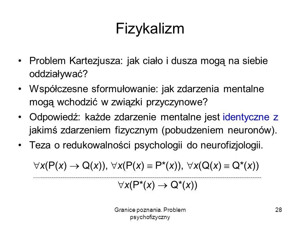 Granice poznania. Problem psychofizyczny 28 Fizykalizm Problem Kartezjusza: jak ciało i dusza mogą na siebie oddziaływać? Współczesne sformułowanie: j