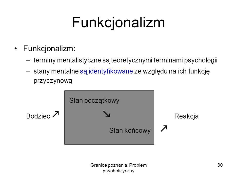 Granice poznania. Problem psychofizyczny 30 Funkcjonalizm Funkcjonalizm: –terminy mentalistyczne są teoretycznymi terminami psychologii –stany mentaln