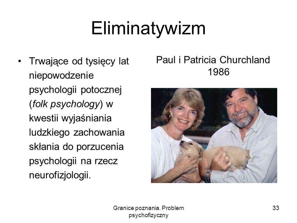 Granice poznania. Problem psychofizyczny 33 Eliminatywizm Trwające od tysięcy lat niepowodzenie psychologii potocznej (folk psychology) w kwestii wyja