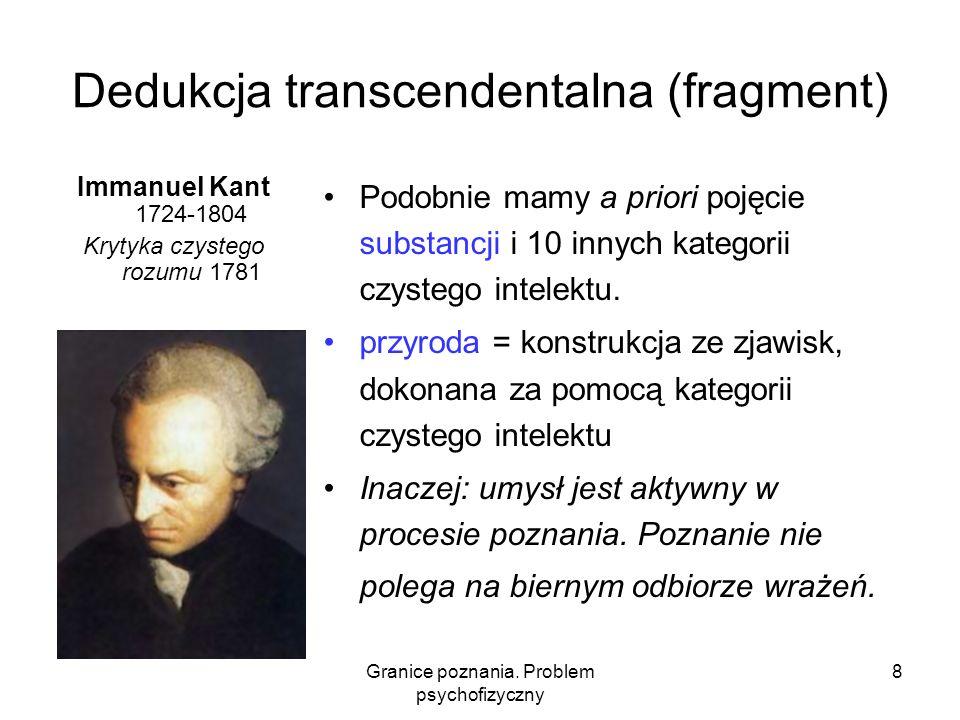 Granice poznania. Problem psychofizyczny 8 Dedukcja transcendentalna (fragment) Immanuel Kant 1724-1804 Krytyka czystego rozumu 1781 Podobnie mamy a p