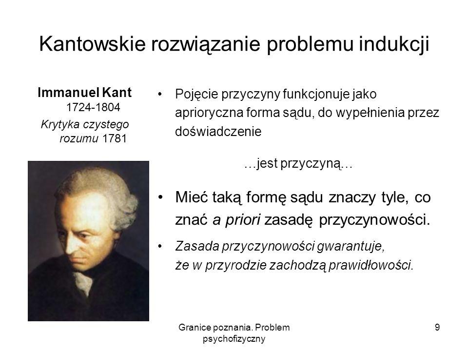Granice poznania. Problem psychofizyczny 9 Kantowskie rozwiązanie problemu indukcji Immanuel Kant 1724-1804 Krytyka czystego rozumu 1781 Pojęcie przyc
