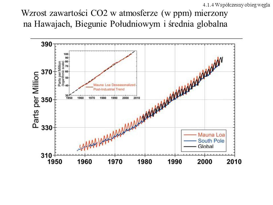 Wzrost zawartości CO2 w atmosferze (w ppm) mierzony na Hawajach, Biegunie Południowym i średnia globalna 4.1.4 Współczesny obieg węgla