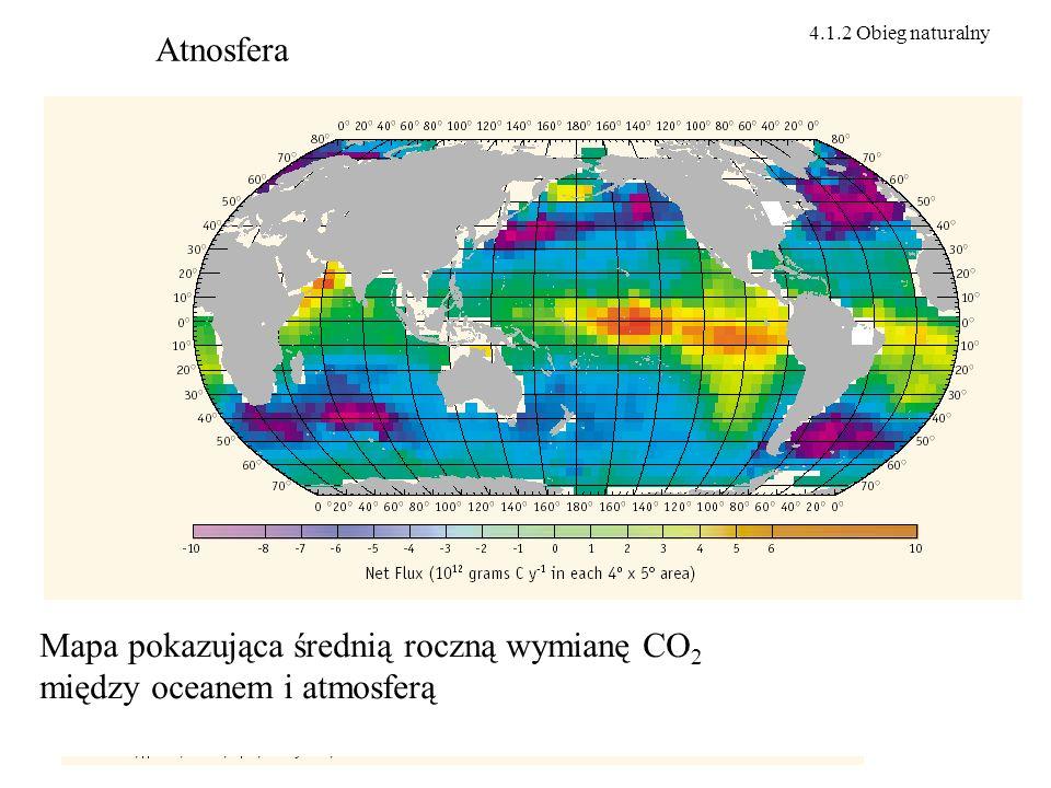 Atnosfera Mapa pokazująca średnią roczną wymianę CO 2 między oceanem i atmosferą 4.1.2 Obieg naturalny