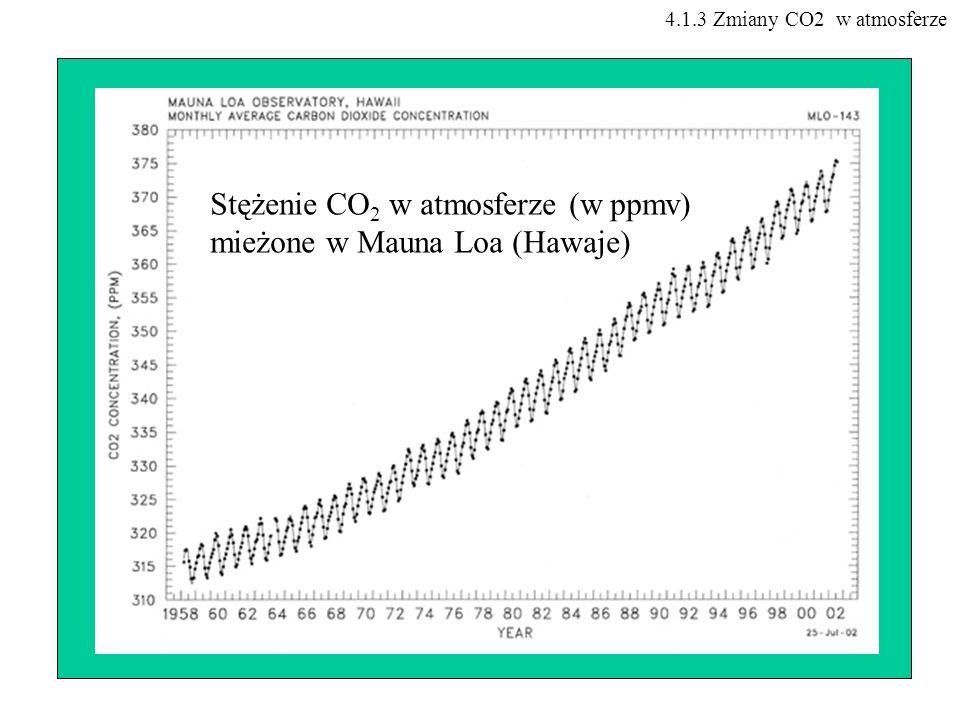 Stężenie CO 2 w atmosferze (w ppmv) mieżone w Mauna Loa (Hawaje) 4.1.3 Zmiany CO2 w atmosferze