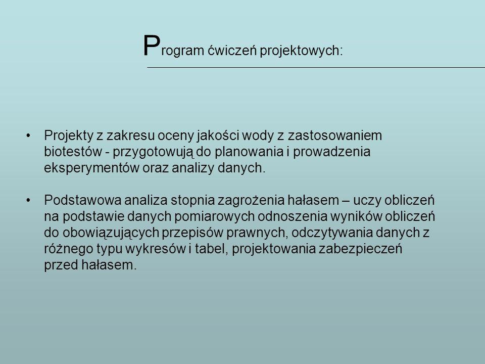 P rogram ćwiczeń projektowych: Projekty z zakresu oceny jakości wody z zastosowaniem biotestów - przygotowują do planowania i prowadzenia eksperymentó