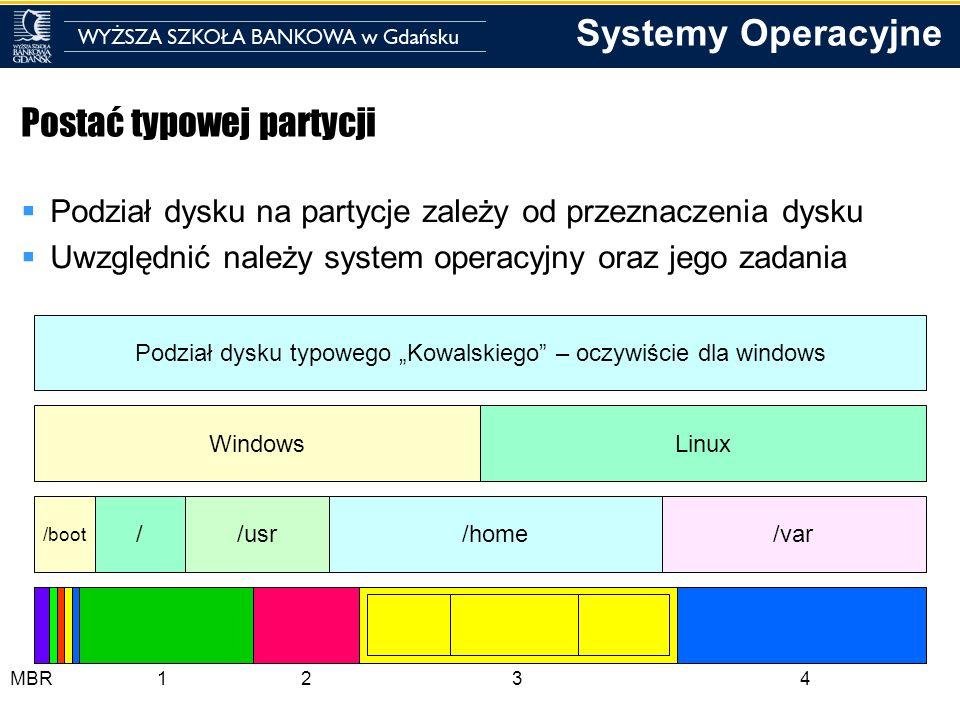 Systemy Operacyjne Postać typowej partycji Podział dysku na partycje zależy od przeznaczenia dysku Uwzględnić należy system operacyjny oraz jego zadan