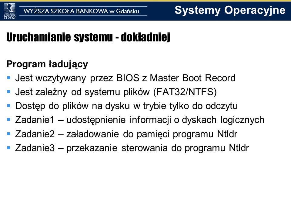 Systemy Operacyjne Uruchamianie systemu - dokładniej Program ładujący Jest wczytywany przez BIOS z Master Boot Record Jest zależny od systemu plików (