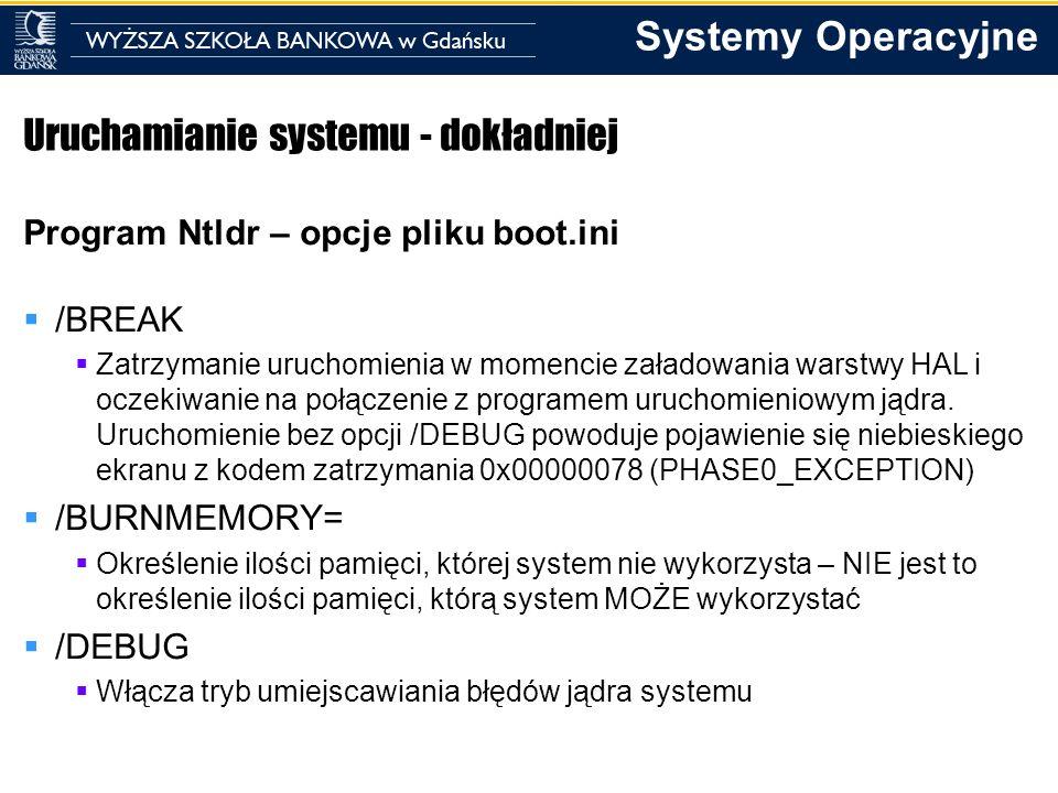 Systemy Operacyjne Uruchamianie systemu - dokładniej Program Ntldr – opcje pliku boot.ini /BREAK Zatrzymanie uruchomienia w momencie załadowania warst