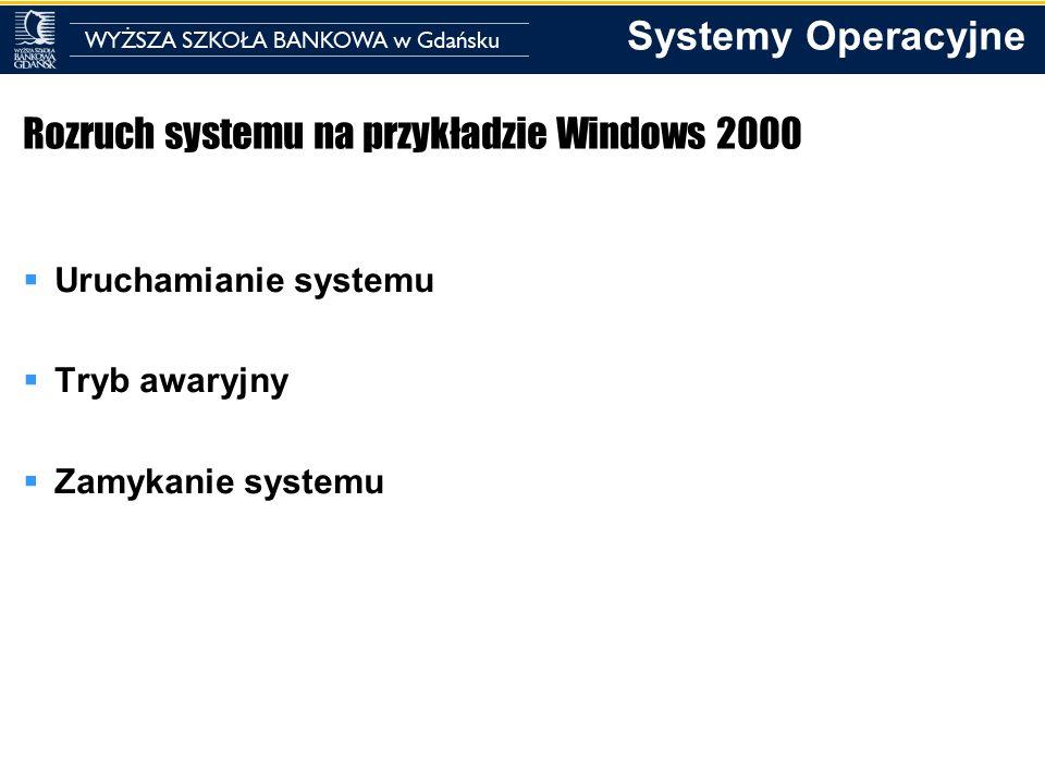 Systemy Operacyjne Uruchamianie systemu Składniki procesu uruchamiania: Program ładujący Tryb 16-bitowy, czyta i ładuje sektory startowe partycji Sektor startowy 16-bitowy, czyta główny katalog żeby załadować Ntldr Ntldr 16-bitowy tryb rzeczywisty, 32-bitowy tryb chroniony, uruchamia stronicowanie, czyta boot.ini, wyświetla menu startowe i ładuje ntoskrnl.exe, bootvid.dll, hal.dll oraz sterowniki urządzeń potrzebne do startu Ntoskrnl.exe 32-bitowy tryb chroniony ze stronicowaniem – inicjalizuje podsystem wykonawczy i uruchamia sterowniki urządzeń, przygotowuje system do uruchamiania programów i uruchania smss.exe Smss Aplikacja 32-bitowa, ładuje podsystem win32 (który zawiera win32k.sys oraz csrss.exe), uruchamia proces winlogon
