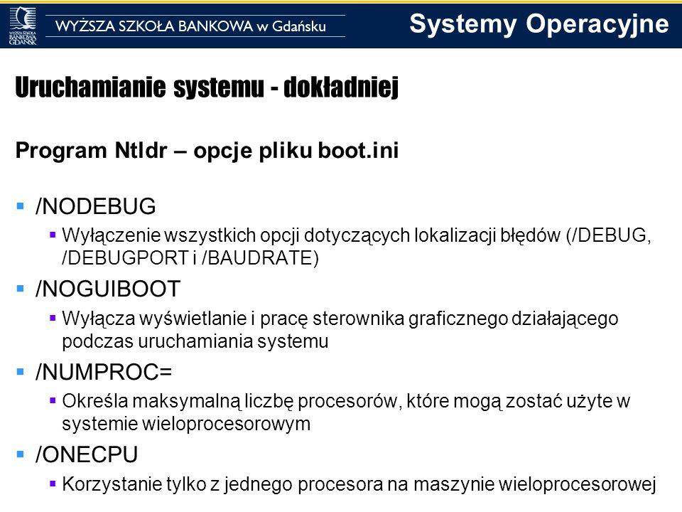 Systemy Operacyjne Uruchamianie systemu - dokładniej Program Ntldr – opcje pliku boot.ini /NODEBUG Wyłączenie wszystkich opcji dotyczących lokalizacji