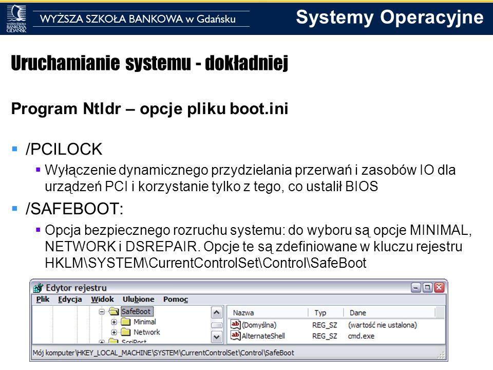 Systemy Operacyjne Uruchamianie systemu - dokładniej Program Ntldr – opcje pliku boot.ini /PCILOCK Wyłączenie dynamicznego przydzielania przerwań i za