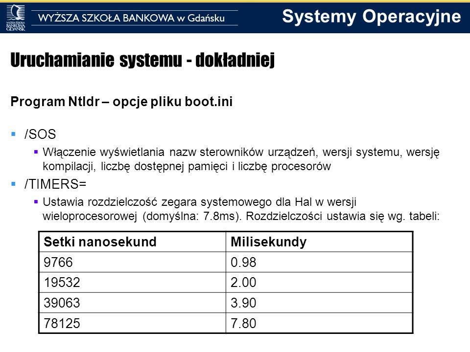 Systemy Operacyjne Uruchamianie systemu - dokładniej Program Ntldr – opcje pliku boot.ini /SOS Włączenie wyświetlania nazw sterowników urządzeń, wersj