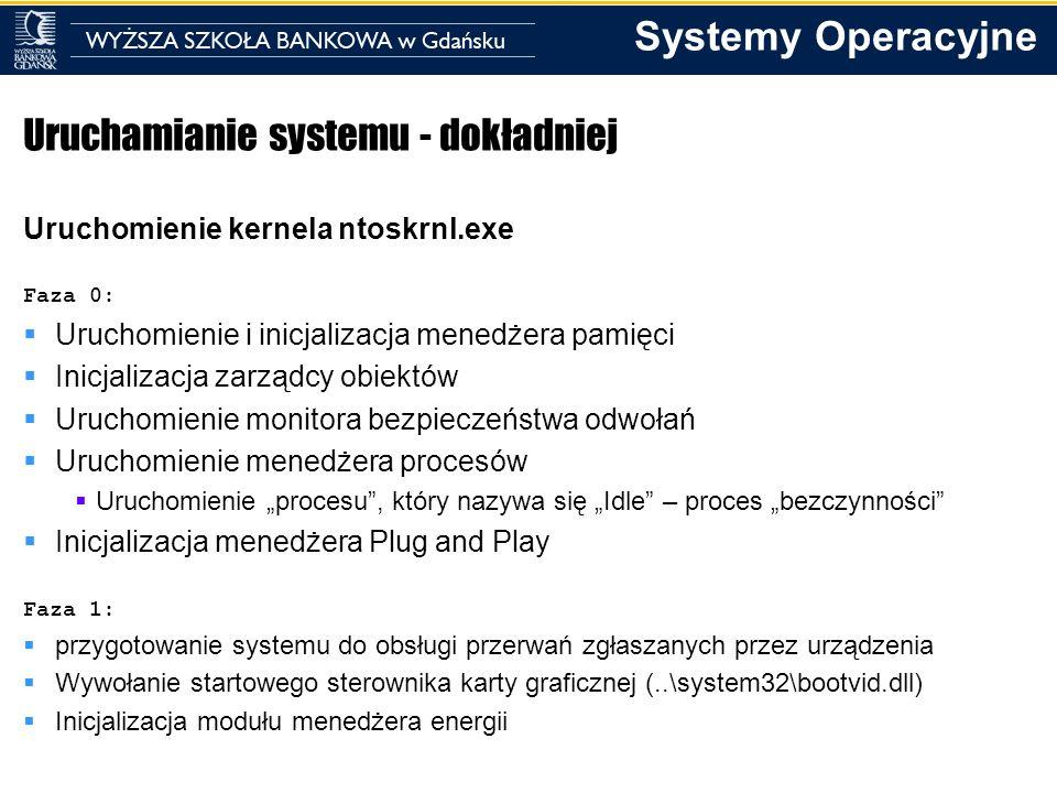 Systemy Operacyjne Uruchamianie systemu - dokładniej Uruchomienie kernela ntoskrnl.exe Faza 0: Uruchomienie i inicjalizacja menedżera pamięci Inicjali