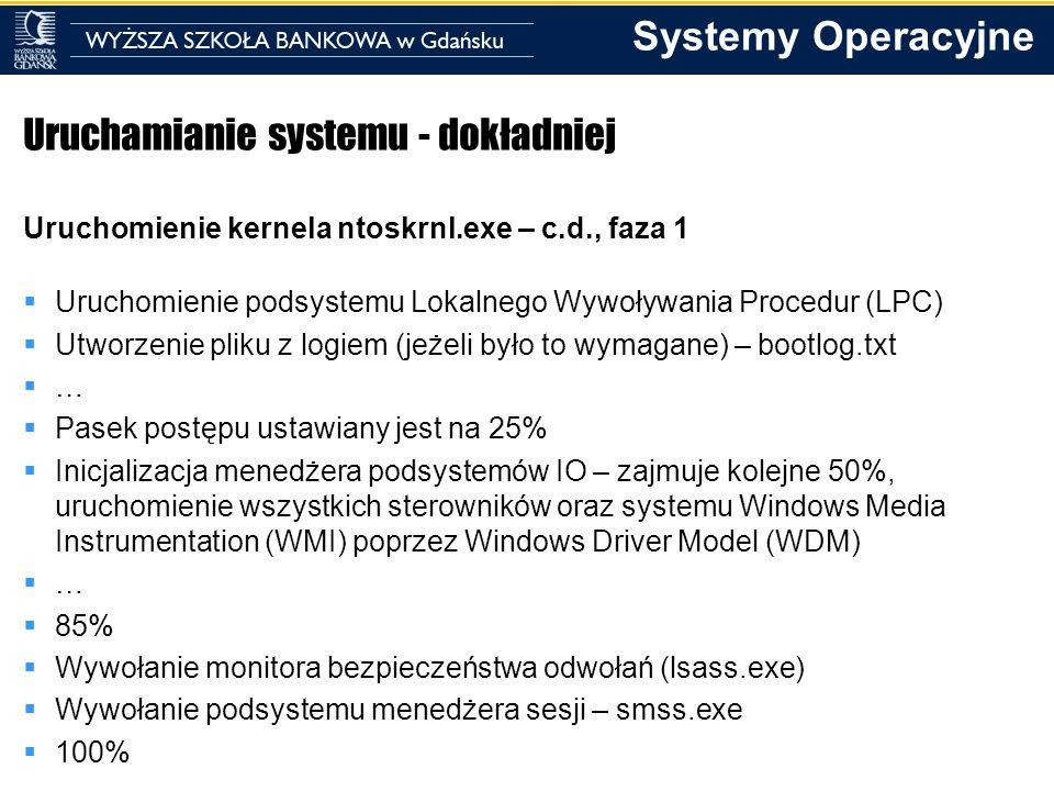 Systemy Operacyjne Uruchamianie systemu - dokładniej Uruchomienie kernela ntoskrnl.exe – c.d., faza 1 Uruchomienie podsystemu Lokalnego Wywoływania Pr