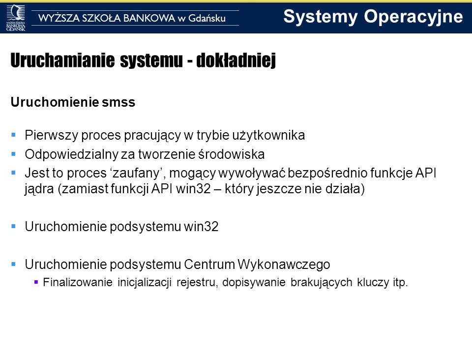Systemy Operacyjne Uruchamianie systemu - dokładniej Uruchomienie smss Pierwszy proces pracujący w trybie użytkownika Odpowiedzialny za tworzenie środ