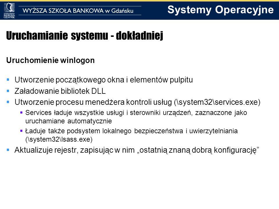 Systemy Operacyjne Uruchamianie systemu - dokładniej Uruchomienie winlogon Utworzenie początkowego okna i elementów pulpitu Załadowanie bibliotek DLL
