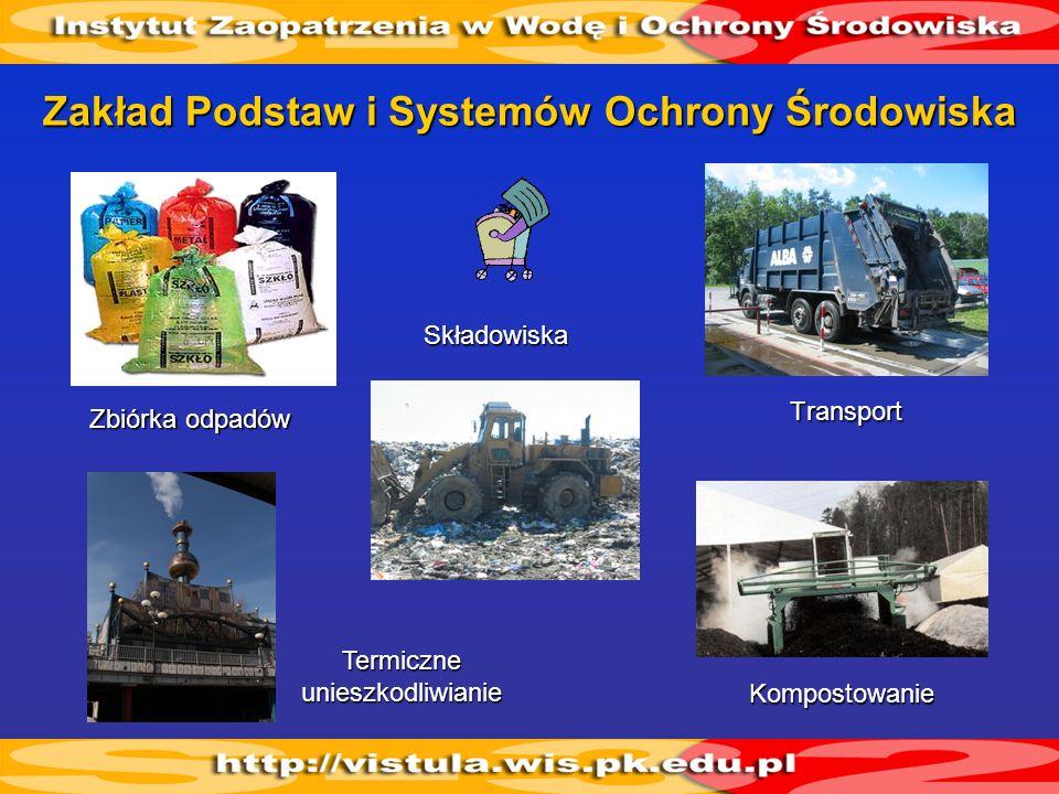 Zakład Podstaw i Systemów Ochrony Środowiska Transport Składowiska Kompostowanie Zbiórka odpadów Termiczne unieszkodliwianie