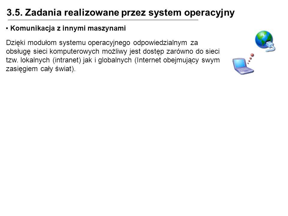 3.5. Zadania realizowane przez system operacyjny Komunikacja z innymi maszynami Dzięki modułom systemu operacyjnego odpowiedzialnym za obsługę sieci k
