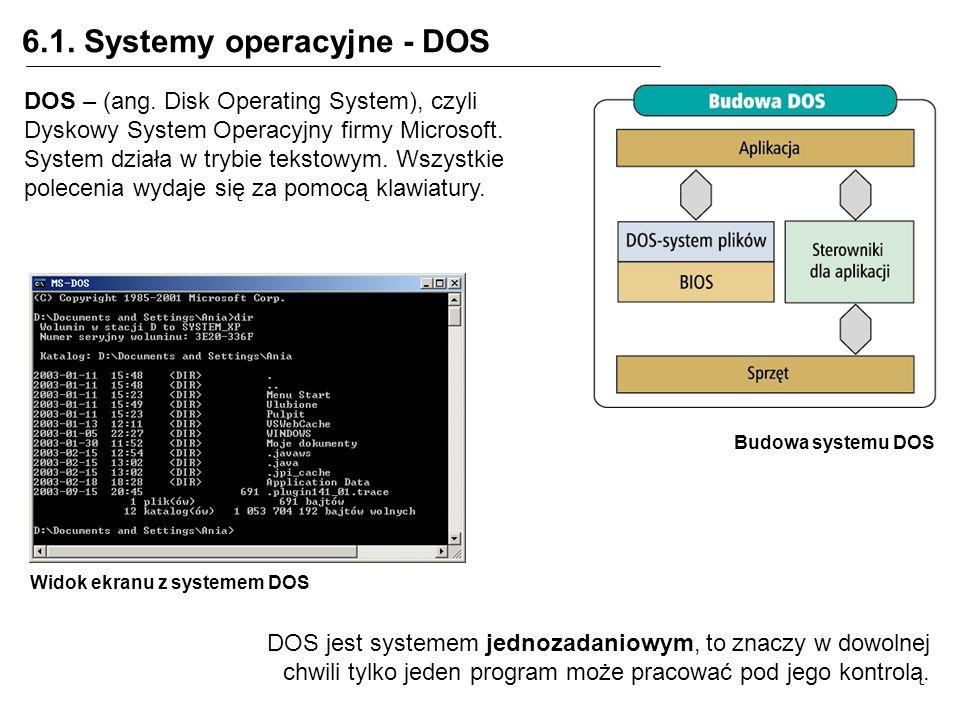 6.1. Systemy operacyjne - DOS Budowa systemu DOS DOS – (ang. Disk Operating System), czyli Dyskowy System Operacyjny firmy Microsoft. System działa w