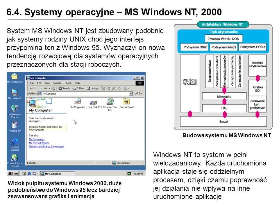 6.4. Systemy operacyjne – MS Windows NT, 2000 Budowa systemu MS Windows NT System MS Windows NT jest zbudowany podobnie jak systemy rodziny UNIX choć