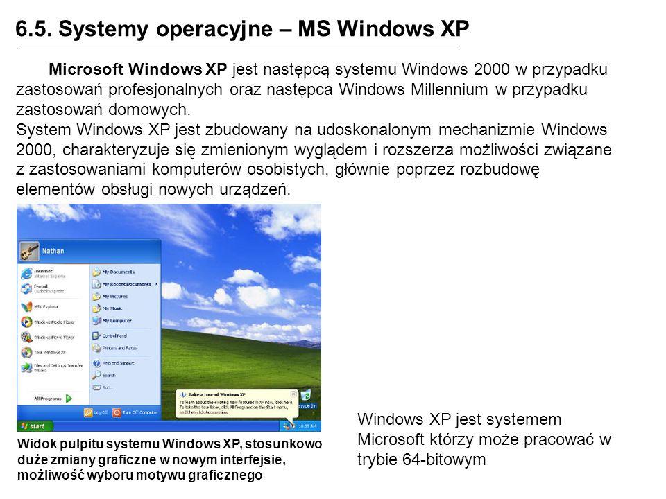 6.5. Systemy operacyjne – MS Windows XP Microsoft Windows XP jest następcą systemu Windows 2000 w przypadku zastosowań profesjonalnych oraz następca W