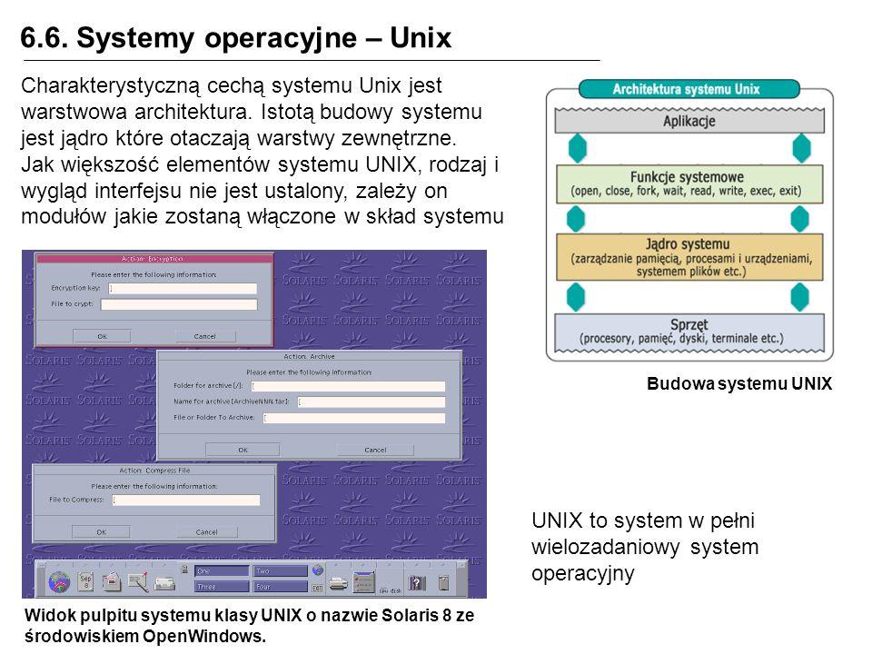 6.6. Systemy operacyjne – Unix Budowa systemu UNIX Charakterystyczną cechą systemu Unix jest warstwowa architektura. Istotą budowy systemu jest jądro