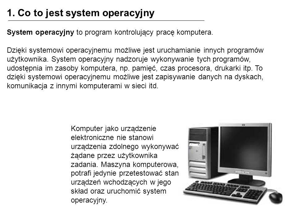 1. Co to jest system operacyjny System operacyjny to program kontrolujący pracę komputera. Dzięki systemowi operacyjnemu możliwe jest uruchamianie inn