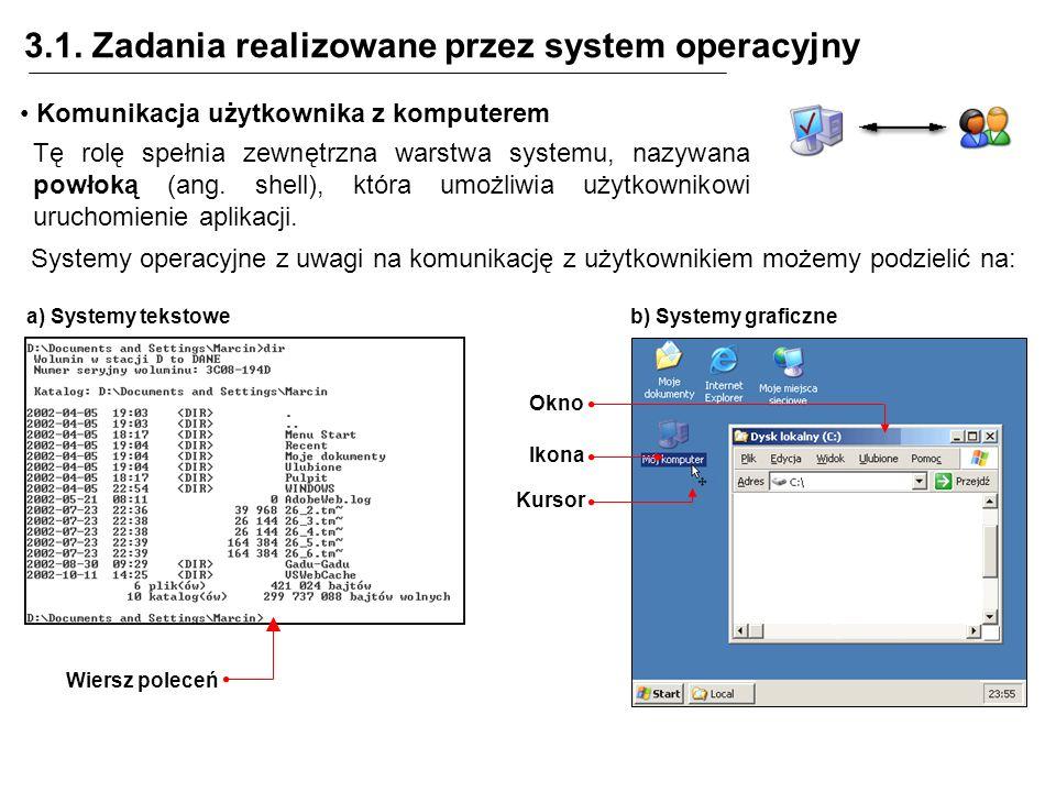 3.1. Zadania realizowane przez system operacyjny Komunikacja użytkownika z komputerem Tę rolę spełnia zewnętrzna warstwa systemu, nazywana powłoką (an