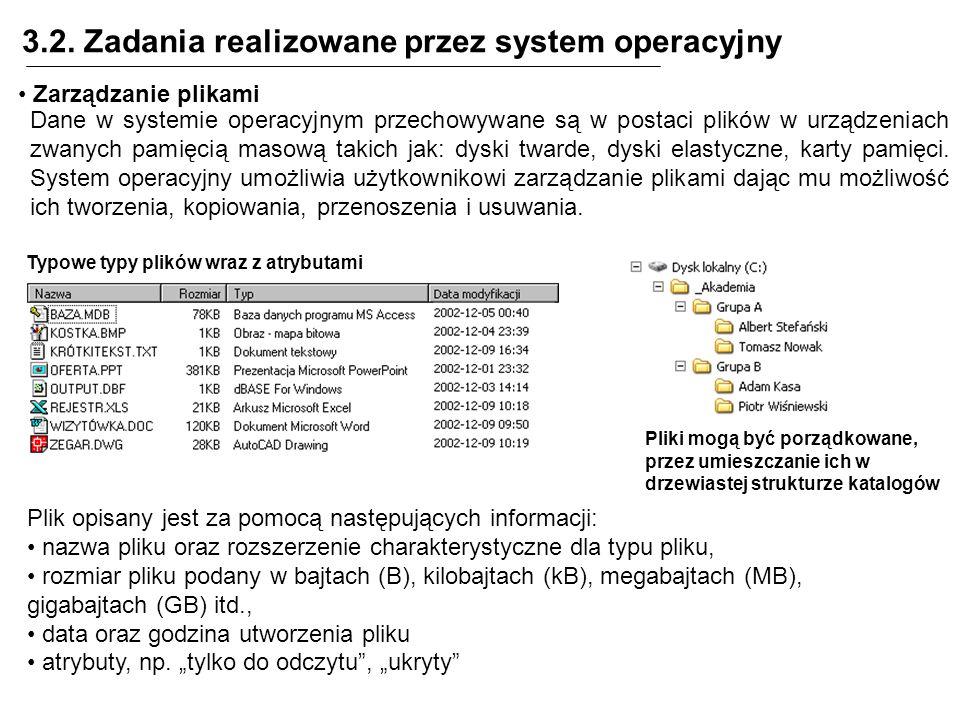3.2. Zadania realizowane przez system operacyjny Zarządzanie plikami Dane w systemie operacyjnym przechowywane są w postaci plików w urządzeniach zwan