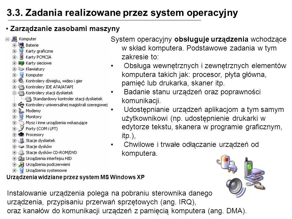 3.3. Zadania realizowane przez system operacyjny Zarządzanie zasobami maszyny System operacyjny obsługuje urządzenia wchodzące w skład komputera. Pods