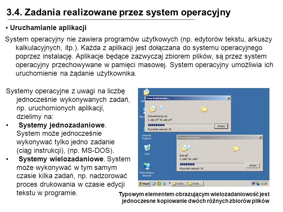 3.4. Zadania realizowane przez system operacyjny Uruchamianie aplikacji System operacyjny nie zawiera programów użytkowych (np. edytorów tekstu, arkus