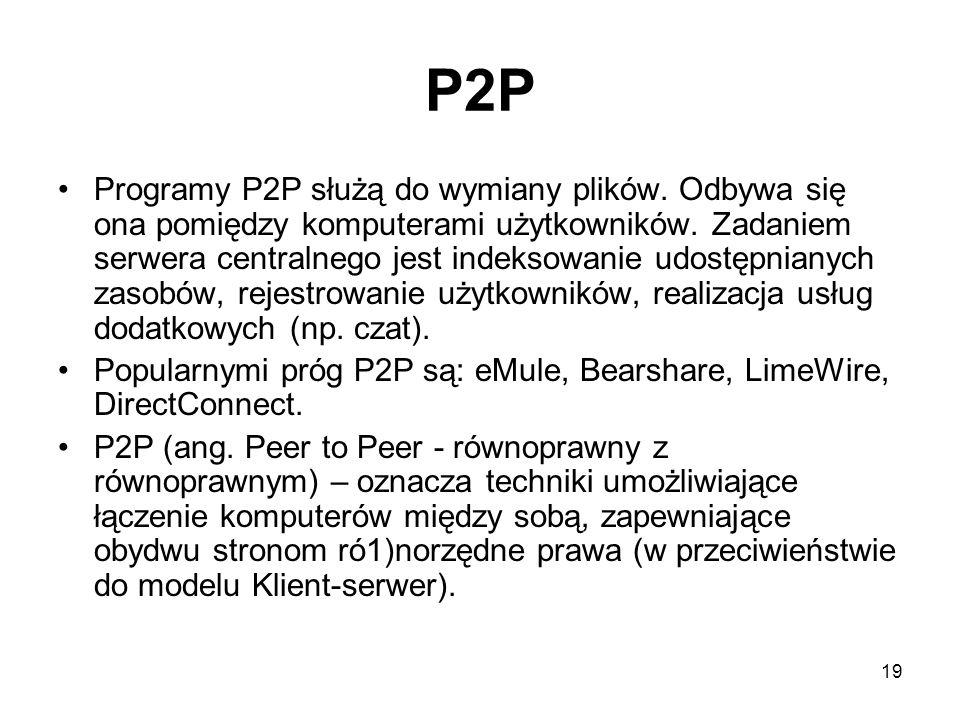 19 P2P Programy P2P służą do wymiany plików.Odbywa się ona pomiędzy komputerami użytkowników.