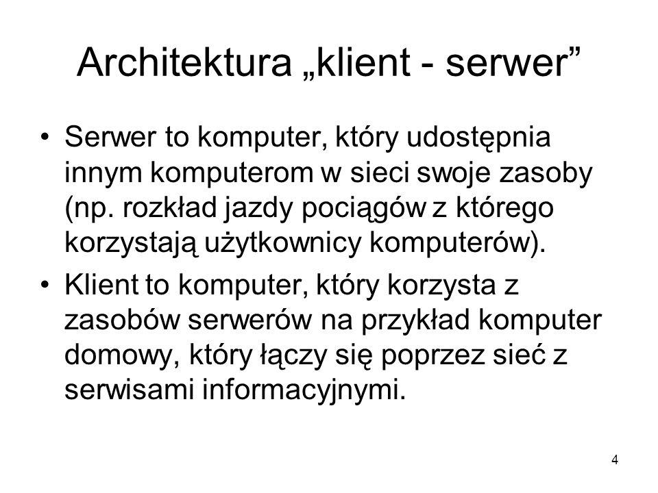 4 Architektura klient - serwer Serwer to komputer, który udostępnia innym komputerom w sieci swoje zasoby (np.