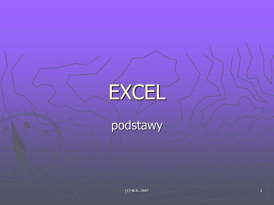 (C) W.K. 2007 1 EXCEL podstawy